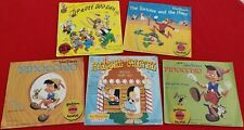 1950's Vintage Disney Vinyl Collection Five Records Complete W/ Colorful Sleeves