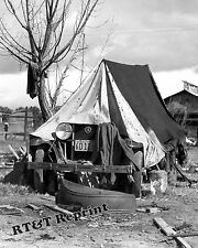 Photograph Vintage California Migrant Workers Car Tent  Camping 1930's 8x10