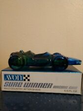 """Vintage Avon """"Sure Winner"""" Blue Glass Racing Car Bottle Wild Country After Shave"""