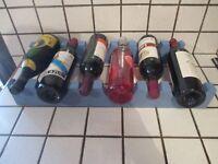ancien casier 6 bouteilles en bois peint en bleu-old bottles rack-home staging