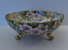 Antique Limoges Footed Bowl Hand Painted, Signed by Artist, La Seynie, France