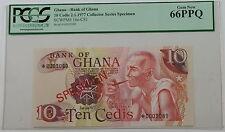 2.1.1977 Bank of Ghana 10 Cedis Specimen Note SCWPM# 16e-CS1 PCGS 66 PPQ Gem New