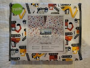 Urban Domain Kids Twin Sheet Set Construction Theme Microfiber soft finish, New