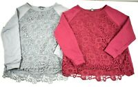 Adrianna Papell Women's Large Lace Front Long Sleeve Sweater Lot of 2 Gray & Red