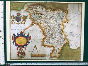 Old Tudor Saxton 1500's Map Derbyshire, England 1577 Antique Reprint Vintage
