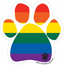 Dog Magnetic Paw Decal - Rainbow Paw - Made In USA