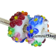 925 Sterling Silver Murano Glass Bead Charm for European Bracelets FLOWERS 027