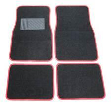 4x tessuto TAPPETINI moquettati PER AUTO ant. + POSTERIORE NERO/ROSSO diverse