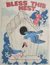 """Vintage BLESS THIS NEST Large Garden House Flag 43""""×29"""" White Birds Spring Nylon"""