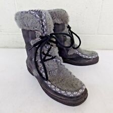 Italian Gray Suede Leather & Synthetic Fur Women's Apres Ski Boots US 8 LOOK