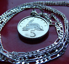 """JAMAICAN CROCODILE RARE Proof  Coin on a 30"""" 925 Sterling Silver Chain"""