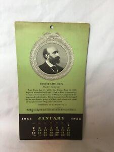 *1955 Theodore Presser Company Bryn Mawr Pennsylvania Master Composer Calendar
