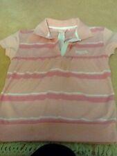 Ladies pale pink striped polo shirt. size 8. Lonsdale ..