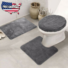 3Pcs Washable Non-slip Soft Bath Pedestal Mat Toilet Cover Carpet Bathroom Rug