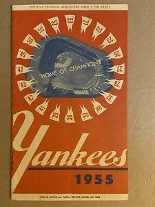 1955 Original Program ScoreCard NEW YORK YANKEES UnScored MICKEY MANTLE Whitey F