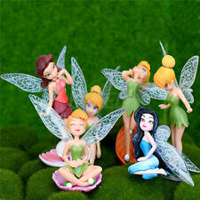 6pcs/Set Cute Tinkerbell Flower Fairy Pixie Miniature Figures Fly Wing Doll Toys