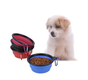 Pet Dog Puppy Cat Bowls Silica gel Collapsible Pets Bowl Folded Travel Kitten UK
