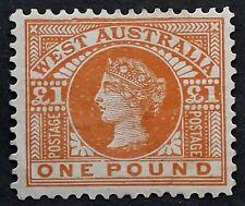 1902 Western Australia £1.00 Orange Brown Swan Stamp Mint
