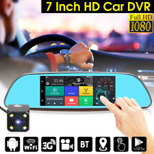 "7"" Touch Screen Android 3G WiFi Car GPS Navigation Rear View Mirror DVR Camera"
