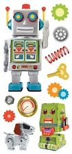 Robots Springs Screws Gears Dog Paper House 3D Stickers steampunk