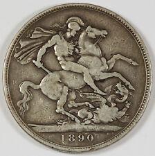 Great Britain 1890 Silver JUBILEE Crown Coin Fine/VF VICTORIA KM#765