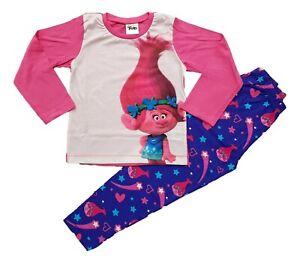 Trolls Poppy Girls Pyjamas Dolls PJs PJ Set Long Sleeve Snuggle Fit Kids Cotton