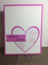 Card Kit Set Of 4 Stampin Up FRIEND Valentine's Day Heart Embossed