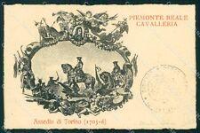 Militari II Reggimento Piemonte Cavalleria Assedio di Torino cartolina XF1892