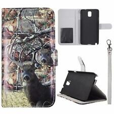 For Samsung Galaxy Note 3 N9000 Sk Wallet Camo Tail Deer Brown Cover Uni Case