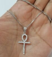 925 Sterling Silver White Crystals Egyptian Ankh Cross Necklace