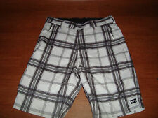 * Mens 30 Teen Boys Billabong Board Shorts Swim Trunks White Gray Plaid Pattern