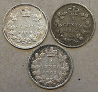 Canada 1896,97,+ 1901 Five Cent Silvers Decent Midgrade Coins