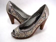Steven Madden Votivo Punta Abierta Zapatos de Plataforma Cuero Metalizado Size 8