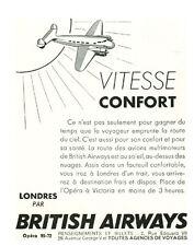 Publicité Ancienne  Voyage  Vitesse Confort Londres Bristish Airways    1938
