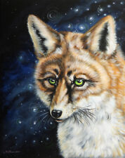 Olie Griffard RED FOX animals wild night stars Original Painting ART ABSTRACT