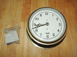 """Vintage 8"""" Brass Ships Bulkhead Clock by Thomas Mercer of At. Albans, Eng. Works"""
