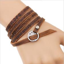 Fashion Men Friendship Leather Charm Bracelet Retro Wristband 5 Cricle