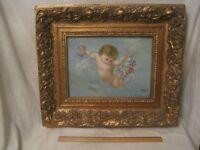deep ornate wood frame w/ original signed Day oil cherub angel baby painting