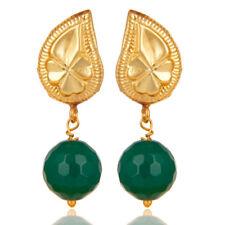 14K Gold Plated Flower Designer Tiger Eye Drop Brass Earrings Attractive Jewelry