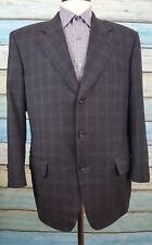 Samuelsohn Size 42R Mens Black Windowpane Wool Three Button Blazer
