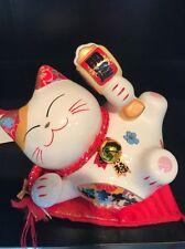 """4"""" White Ceramic Maneki Neko Lucky Cat Coin Bank - US Seller"""