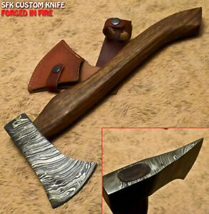 SFK Hand Forged Damascus Steel Walnut Wood Hatchet Art Hunting Axe Knife Classy