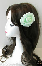 Mint Green Rose Flower Hair Clip Rockabilly Vintage Bridesmaid 1950s Pastel Q31