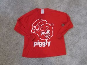 """PIGGLY WIGGLY RED l/s Christmas  T shirt  YOUTH MEDIUM M  GUC """"Big on the Pig"""""""