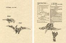 Transformers SWOOP DINOBOT G1 US Patent Art Print READY TO FRAME Ohno 1986