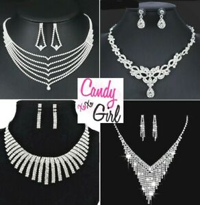 Stunning Crystal Diamante Evening Wedding Necklace And Earring Jewellery Sets