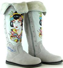 $390 Ed Hardy Womens Snowblazer Suede Boots, White, US 5