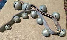 Vintage Brass Sleigh Bells On Leather Strap 11 Bells Antique Original 33.5 Inch