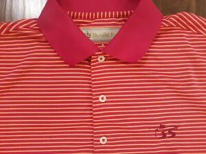 Donald Ross Striped Short Sleeve Golf Polo Mens Size Medium Magenta Cabin Road