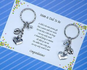 Poem Mum Dad To Be Pregnancy Expecting Handmade Charm Keyring baby shower gift